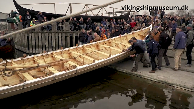 Launch of the Viking Ship Museum´s latest boat, ´Storkjoven´